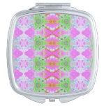 Pretty pink green jewel fractal pattern makeup mirror