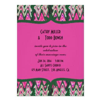Pretty Pink Green Modern Wedding Card