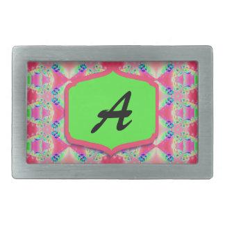 Pretty Pink Green Monogram Rectangular Belt Buckles