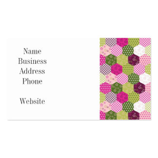 Pretty Pink Green Mulberry Patchwork Quilt Design Business Cards