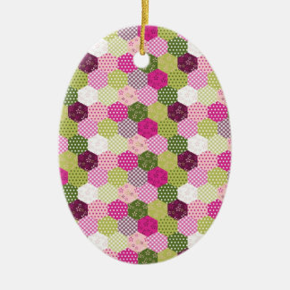Pretty Pink Green Mulberry Patchwork Quilt Design Ceramic Ornament