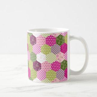 Pretty Pink Green Mulberry Patchwork Quilt Design Coffee Mug