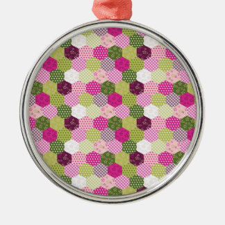Pretty Pink Green Mulberry Patchwork Quilt Design Metal Ornament