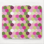 Pretty Pink Green Mulberry Patchwork Quilt Design Mouse Pad