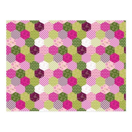 Pretty Pink Green Mulberry Patchwork Quilt Design Postcard