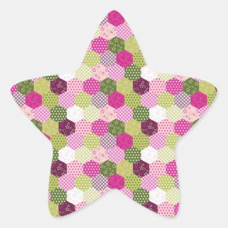 Pretty Pink Green Mulberry Patchwork Quilt Design Star Sticker