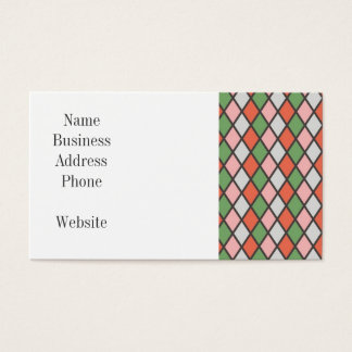 Pretty Pink Green Orange Argyle Diamond Pattern Business Card