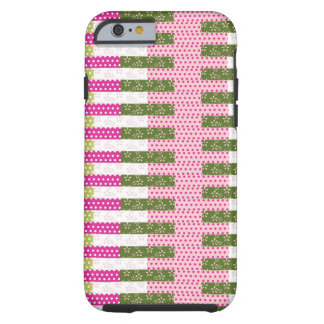 Pretty Pink Green Patchwork Quilt Design Gifts Tough iPhone 6 Case