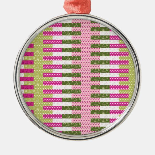 Pretty Pink Green Patchwork Quilt Design Gifts Metal Ornament