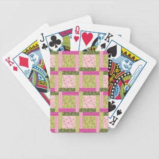 Pretty Pink Green Patchwork Squares Quilt Pattern Bicycle Playing Cards