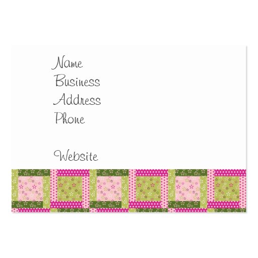 Pretty Pink Green Patchwork Squares Quilt Pattern Business Card Templates