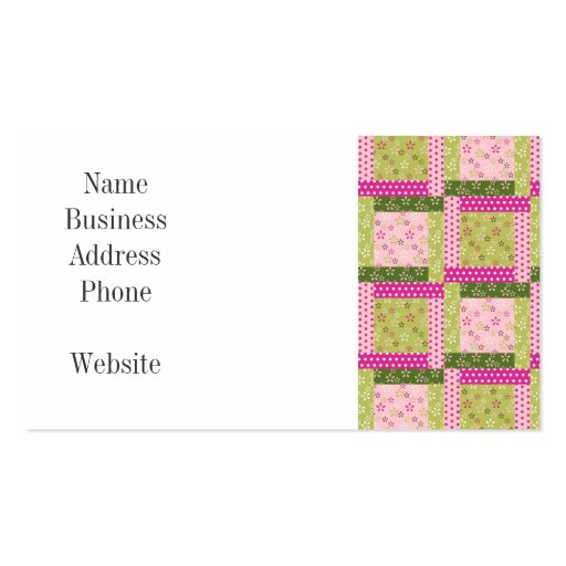 pretty pink green patchwork squares quilt pattern business card zazzle. Black Bedroom Furniture Sets. Home Design Ideas