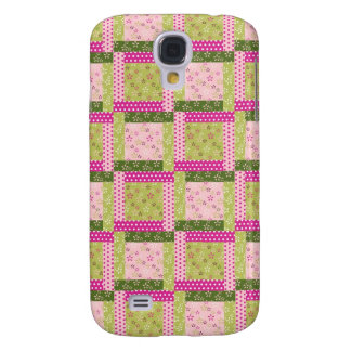 Pretty Pink Green Patchwork Squares Quilt Pattern HTC Vivid Covers