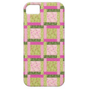 Pretty Pink Green Patchwork Squares Quilt Pattern iPhone 5 Case