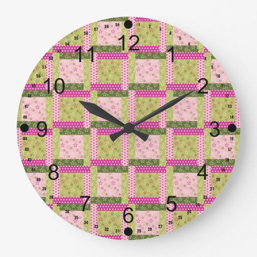 Pretty Pink Green Patchwork Squares Quilt Pattern Round Wall Clocks
