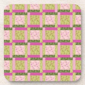 Pretty Pink Green Patchwork Squares Quilt Pattern Beverage Coaster