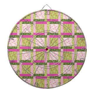 Pretty Pink Green Patchwork Squares Quilt Pattern Dartboard With Darts