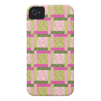 Pretty Pink Green Patchwork Squares Quilt Pattern iPhone 4 Cover
