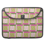 Pretty Pink Green Patchwork Squares Quilt Pattern Sleeves For MacBook Pro