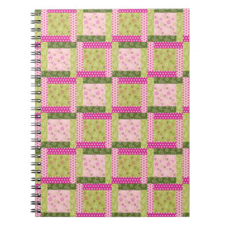 Pretty Pink Green Patchwork Squares Quilt Pattern Spiral Note Books