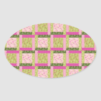 Pretty Pink Green Patchwork Squares Quilt Pattern Oval Sticker