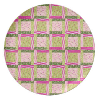 Pretty Pink Green Patchwork Squares Quilt Pattern Dinner Plate