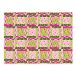 Pretty Pink Green Patchwork Squares Quilt Pattern Postcard