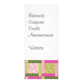 Pretty Pink Green Patchwork Squares Quilt Pattern Personalized Rack Card