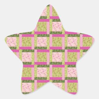 Pretty Pink Green Patchwork Squares Quilt Pattern Star Sticker