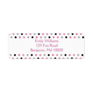 Pretty Pink grey and black polka dots Label