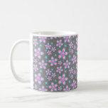 Pretty Pink & Grey Floral Coffee Mug