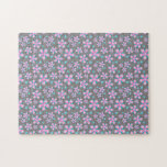 Pretty Pink & Grey Floral Jigsaw Puzzle