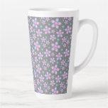 Pretty Pink & Grey Floral Latte Mug