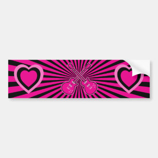 Pretty Pink Guitars & Hearts Bumper Sticker