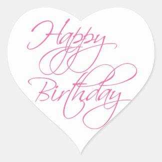 Pretty Pink Happy Birthday Heart Sticker
