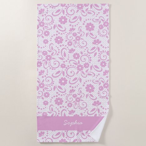Pretty pink hawaiian surfer chic beach towel