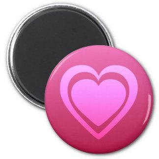 Pretty Pink Heart 2 Inch Round Magnet