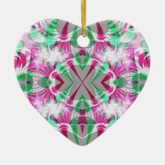 pretty pink heart ceramic ornament