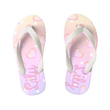 Beach Themed Pretty Pink Heart Customisable Kids Flip Flops