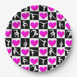 PRETTY PINK HEART GYMNASTICS DESIGN PAPER PLATE