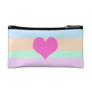 Pretty Pink Heart on Pastel Stripes Cosmetic Bag