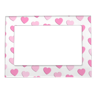 Pretty Pink Heart Pattern Girly Valentine's Day Magnetic Frame
