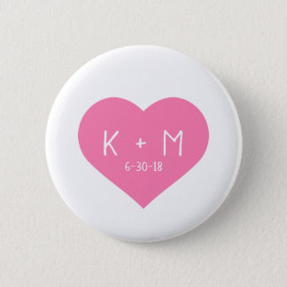 Pretty Pink Heart White Handwriting Initials Date Pinback Button