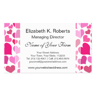 Pretty Pink Hearts for Bachelorette or Bride Business Cards