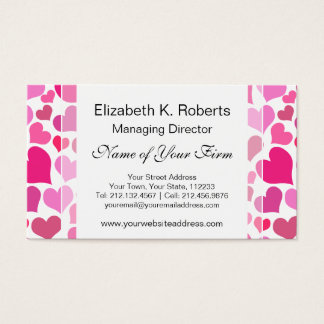 Pretty Pink Hearts for Bachelorette or Bride Business Card