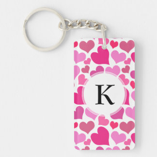 Pretty Pink Hearts for Bachelorette or Bride Keychain