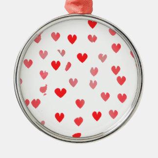 Pretty Pink Hearts Metal Ornament