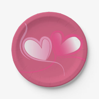 Pretty Pink Hearts Paper Plates 7 Inch Paper Plate