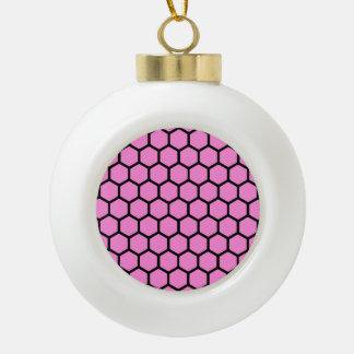 Pretty Pink Hexagon 4 Ceramic Ball Christmas Ornament