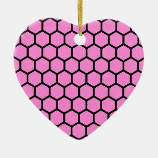 Pretty Pink Hexagon 4 Ceramic Ornament
